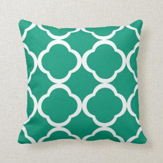 Emerald Green Moroccan Quatrefoil Cushion Throw Pillow