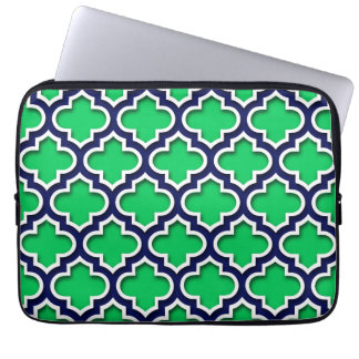 Emerald Green Navy White Moroccan Quatrefoil #5DS Computer Sleeves