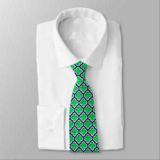 Emerald Green Navy White Moroccan Quatrefoil #5DS Tie