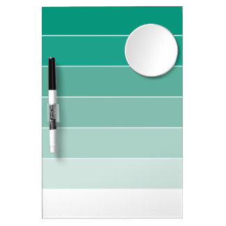 Emerald Green Ombré Stripes Dry Erase Board With Mirror