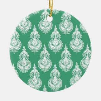 Emerald green paisley customizable christmas tree ornaments
