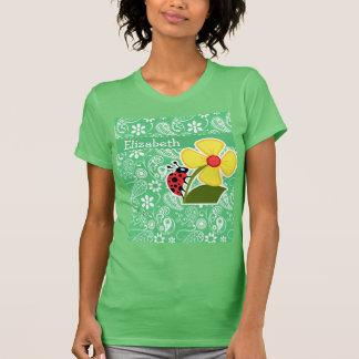 Emerald Green Paisley; Ladybug Tshirt
