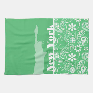 Emerald Green Paisley; New York City Kitchen Towels