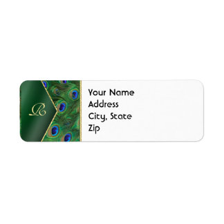 Emerald Green Peacock Address Label