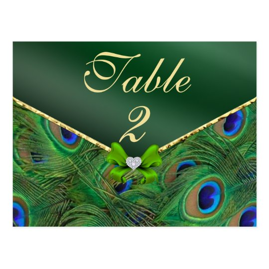 Emerald Green Peacock Table Number Card