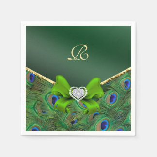 Emerald Green Peacock Wedding Paper Party Napkins Paper Napkin
