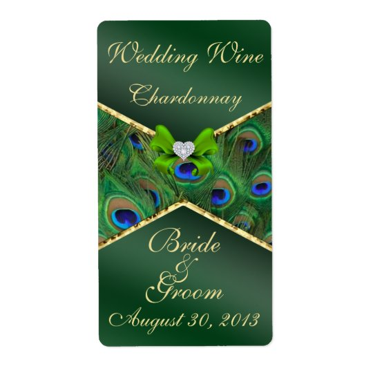 Emerald Green Peacock  Wedding Wine Label