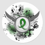 Emerald Green Ribbon And Wings Liver Cancer Sticker