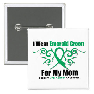 Emerald Green Ribbon (Mom) - Liver Cancer 15 Cm Square Badge