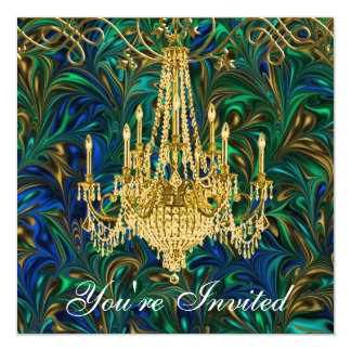 Emerald Green Royal Blue Gold Chandelier Party Card