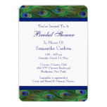 Emerald Green Royal Blue Peacock Bridal Shower 13 Cm X 18 Cm Invitation Card