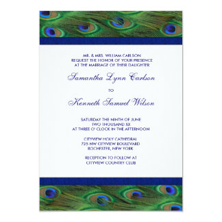 Emerald Green Royal Blue Peacock Feathers Wedding Card