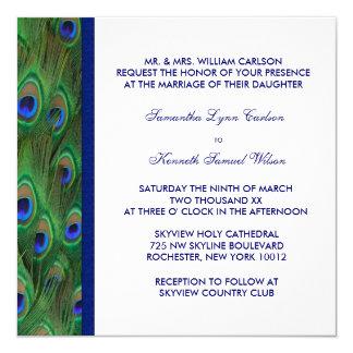 Emerald Green Royal Blue Peacock Wedding 13 Cm X 13 Cm Square Invitation Card