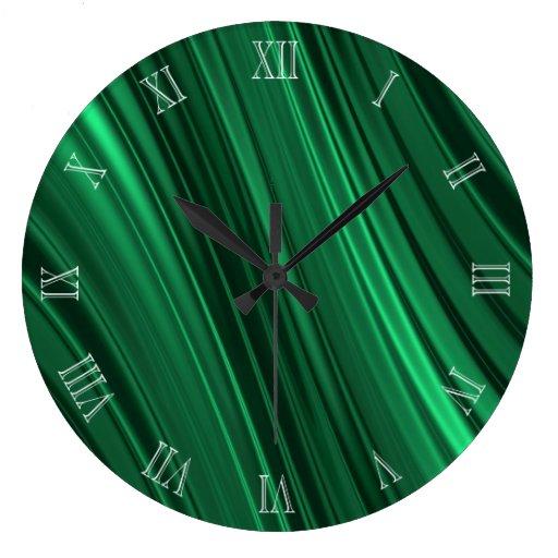 Emerald green shaded stripes clocks