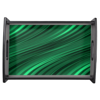 Emerald green shaded stripes serving tray