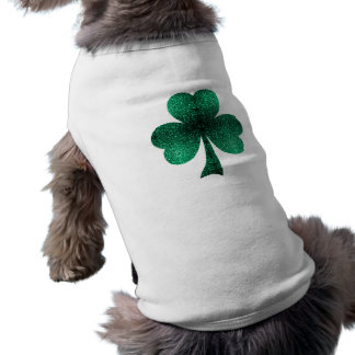 Emerald Green Sparkles Shamrock Clover dog Shirt