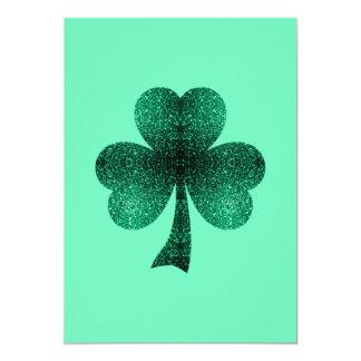 Emerald Green Sparkles Shamrock Clover Invitation