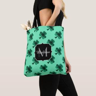 Emerald Green Sparkles Shamrock Clover Monogram Tote Bag