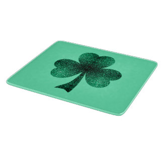 Emerald Green Sparkles Shamrock Clover turquoise Cutting Board