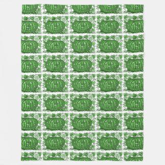 Emerald-Green Spidery Pumpkin Fleece Blanket