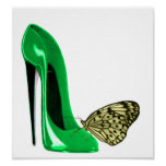 Emerald Green Stiletto and Butterfly Art Poster