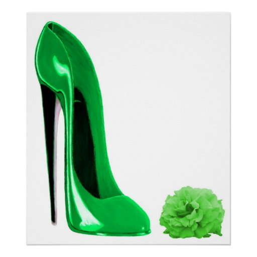 Emerald Green Stiletto Shoe and Rose Print