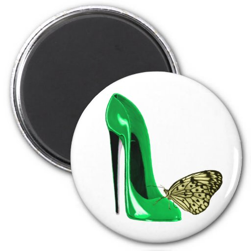 Emerald Green Stiletto Shoe and Yellow Butterfly Fridge Magnets