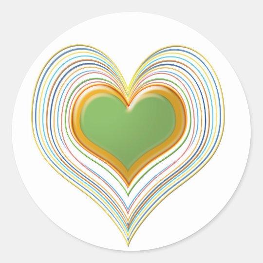Emerald Green Sweet Hearts -   Kids Store Classic Round Sticker