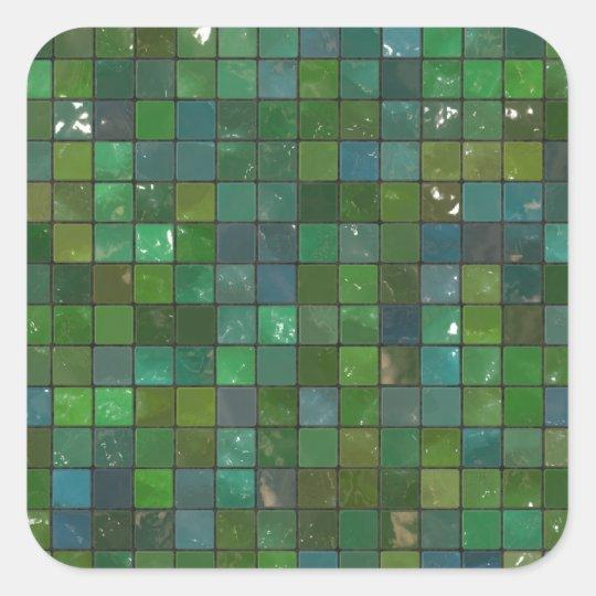 Emerald green tile pattern square sticker