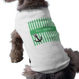 Emerald Green Vertical Stripes; Anchor Pet Shirt