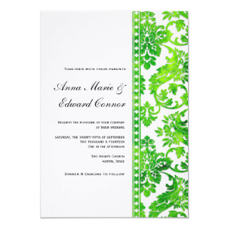 Emerald Green Vintage Damask Lace Wedding 5x7 Paper Invitation Card