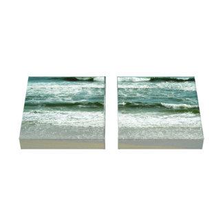 Emerald Green Waves Crashing on the Beach Canvas Print