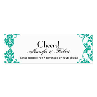 Emerald Green White Damask Wedding Drink Ticket Business Card Templates