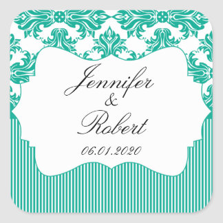 Emerald Green White Damask Wedding Envelope Seal Square Sticker