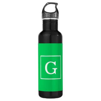 Emerald Green White Framed Initial Monogram 710 Ml Water Bottle