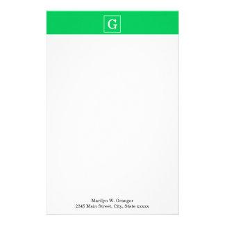 Emerald Green White Framed Initial Monogram Customized Stationery