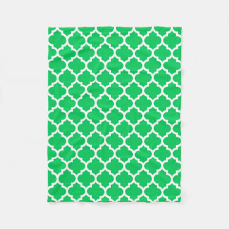 Emerald Green White Moroccan Quatrefoil Pattern #5 Fleece Blanket