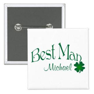 Emerald Green, White Shamrock Best Man Button