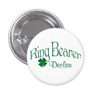 Emerald Green, White Shamrock Ring Bearer Button