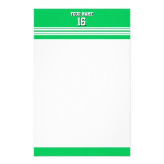 Emerald Green White Team Jersey Custom Number Name Stationery Design