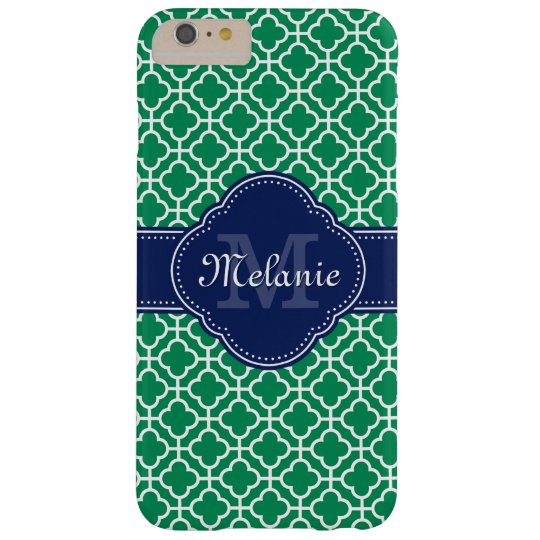 Emerald Green Wht Moroccan Pattern Navy Monogram Barely There iPhone 6 Plus Case