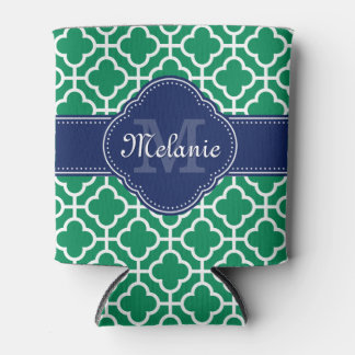 Emerald Green Wht Moroccan Pattern Navy Monogram Can Cooler