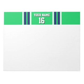 Emerald Green with Navy White Stripes Team Jersey Notepads