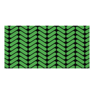 Emerald Green Zigzags inspired by Knitting. Custom Photo Card