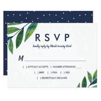Emerald Greenery Wedding RSVP Card