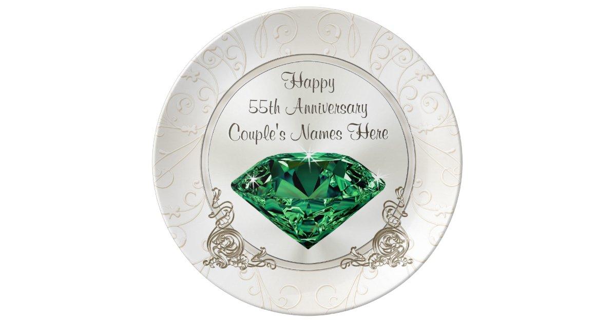 Emerald Happy 55th Anniversary Gifts Personalized Plate Zazzle