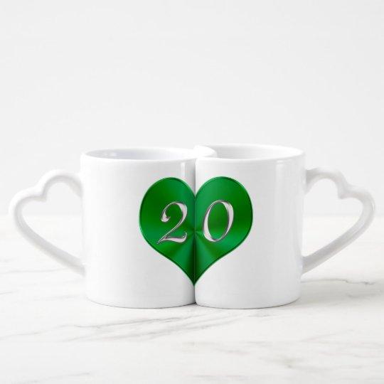 Emerald Heart 20th Anniversary Gifts Mugs Set