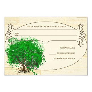 Emerald Heart Leaf Tree Barn Wood Wedding RSVP Card