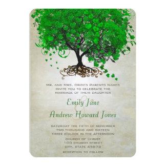 "Emerald Heart Leaf Tree Wedding Invites 5"" X 7"" Invitation Card"