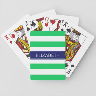 Emerald Horz Preppy Stripe Navy Blue Name Monogram Playing Cards